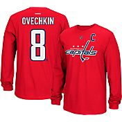 Reebok Men's Washington Capitals Alex Ovechkin #8 Long Sleeve Player Red Long Sleeve T-Shirt