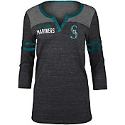 5th & Ocean Women's Seattle Mariners Black Three-Quarter Sleeve Shirt