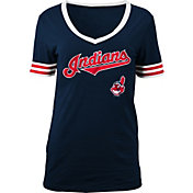 5th & Ocean Women's Cleveland Indians Chenille Navy V-Neck T-Shirt