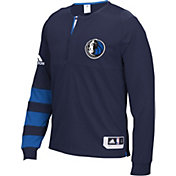 adidas Men's Dallas Mavericks On-Court Navy Long Sleeve Shooting Shirt