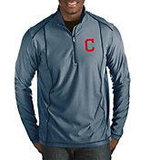 Antigua Men's Cleveland Indians Navy Tempo Quarter-Zip Pullover