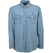 Antigua Men's Seattle Seahawks Chambray Button-Up Shirt
