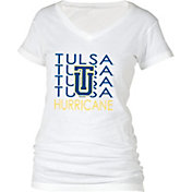 boxercraft Women's Tulsa Golden Hurricane Perfect Fit V-Neck White T-Shirt