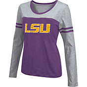 Colosseum Athletics Women's LSU Tigers Purple Leap Scoop Neck Long Sleeve Shirt