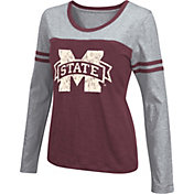 Colosseum Athletics Women's Mississippi State Bulldogs Maroon Leap Scoop Neck Long Sleeve Shirt