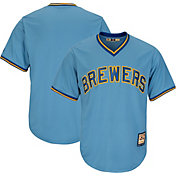 Majestic Men's Replica Milwaukee Brewers Cool Base Light Blue Cooperstown Jersey