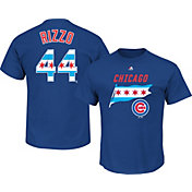 Majestic Men's Chicago Cubs Anthony Rizzo #44 Royal State Flag T-Shirt