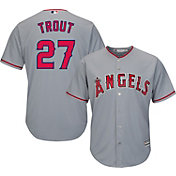 Majestic Men's Replica Los Angeles Angels Mike Trout #27 Cool Base Road Grey Jersey