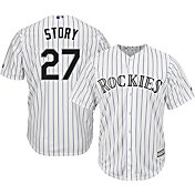 Majestic Men's Replica Colorado Rockies Trevor Story #27 Cool Base Home White Jersey