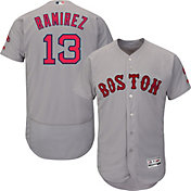 Majestic Men's Authentic Boston Red Sox Hanley Ramirez #13 Road Grey Flex Base On-Field Jersey