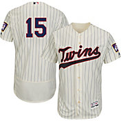 Majestic Men's Authentic Minnesota Twins Greg Perkins #15 Alternate Ivory Flex Base On-Field Jersey