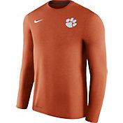 Nike Men's Clemson Tigers Heathered Orange Football Coach Dri-FIT Touch Sideline Long Sleeve Shirt