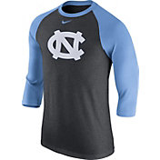 Nike Men's North Carolina Tar Heels Grey/Carolina Blue Baseball Tri-Blend Logo Raglan Shirt
