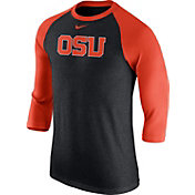 Nike Men's Oregon State Beavers Grey/Orange Baseball Tri-Blend Logo Raglan Shirt