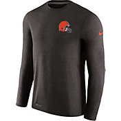 Nike Men's Cleveland Browns Sideline 2017 Coaches Brown Long Sleeve Shirt