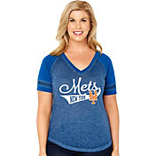 Soft As A Grape Women's New York Mets V-Neck Shirt - Plus Size