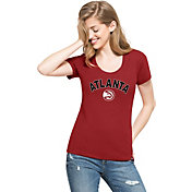 '47 Women's Atlanta Hawks Wordmark Red Scoop Neck T-Shirt