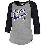 '47 Women's Dallas Mavericks Club Grey/Black Three-Quarter Sleeve Shirt