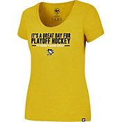 '47 Women's Pittsburgh Penguins Slogan Club Gold Scoop Neck T-Shirt