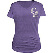 5th & Ocean Women's Colorado Rockies Purple Tri-Blend V-Neck Shirt