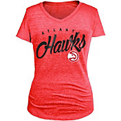 New Era Women's Atlanta Hawks Tri-Blend Red V-Neck T-Shirt