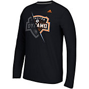 adidas Men's Houston Dynamo Uncovered Ultimate Black Long Sleeve T-Shirt