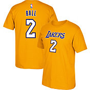 adidas Men's Los Angeles Lakers Lonzo Ball #2 Gold T-Shirt