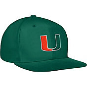 adidas Men's Miami Hurricanes Green Structured Adjustable Snapback Hat