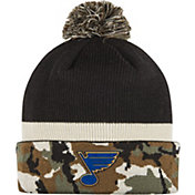 adidas Men's St. Louis Blues Logo Camo Pom Knit Beanie