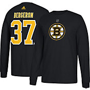 adidas Men's Boston Bruins Patrice Bergeron #37 Black Long Sleeve Shirt