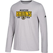 adidas Men's Boston Bruins Go-To Established Grey Performance Long Sleeve Shirt