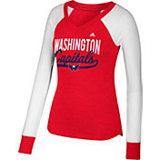 adidas Women's Washington Capitals Elbow Patch Red/White V-Neck Long Sleeve Shirt
