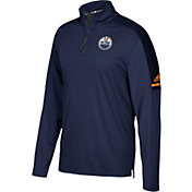 adidas Men's Edmonton Oilers Authentic Pro Navy Quarter-Zip Jacket