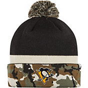 adidas Men's Pittsburgh Penguins Logo Camo Pom Knit Beanie