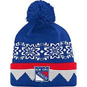 adidas Men's New York Rangers Ugly Sweater Royal Pom Knit Beanie