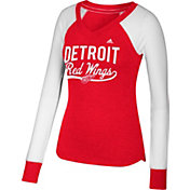 adidas Women's Detroit Red Wings Elbow Patch Red/White V-Neck Long Sleeve Shirt