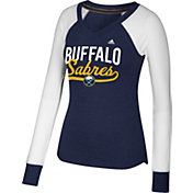 adidas Women's Buffalo Sabres Elbow Patch Navy/White V-Neck Long Sleeve Shirt