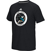 adidas Men's San Jose Sharks Practice Ultimate Black Performance T-Shirt