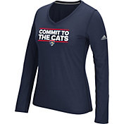 adidas Women's Florida Panthers Local Dassler Navy Performance V-Neck Long Sleeve Shirt