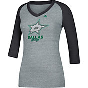 adidas Women's Dallas Stars Bling Black 3/4 Sleeve V-Neck Shirt