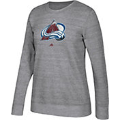 adidas Women's Colorado Avalanche Distressed Logo Heather Grey Sweatshirt