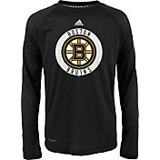 adidas Youth Boston Bruins Practice Black Performance Long Sleeve Shirt