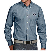 Antigua Men's BYU Cougars Blue Associate Button Down Long Sleeve Shirt