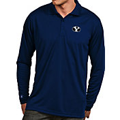 Antigua Men's BYU Cougars Blue Exceed Long Sleeve Polo