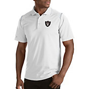 Antigua Men's Oakland Raiders Merit White Xtra-Lite Polo