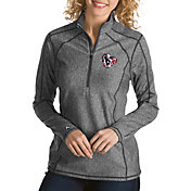 Antigua Women's Houston Texans Quick Snap Logo Tempo Grey Quarter-Zip Pullover