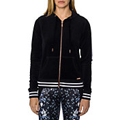 Betsey Johnson Performance Women's Striped Rib Velour Full-Zip Hoodie