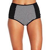 CALIA by Carrie Underwood Women's Ruched High Waist Printed Bikini Bottoms