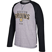 CCM Men's Boston Bruins Crew Heather Grey/Black Long Sleeve Shirt