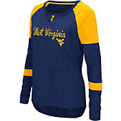 Colosseum Women's West Virginia Mountaineers Blue Routine Raglan Long Sleeve T-Shirt